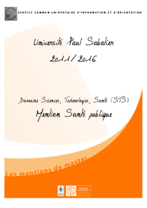 Université Paul Sabatier 2011/2016 Mention Santé publique