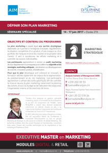 Definir le Plan Marketing - Analysis Institute of Management