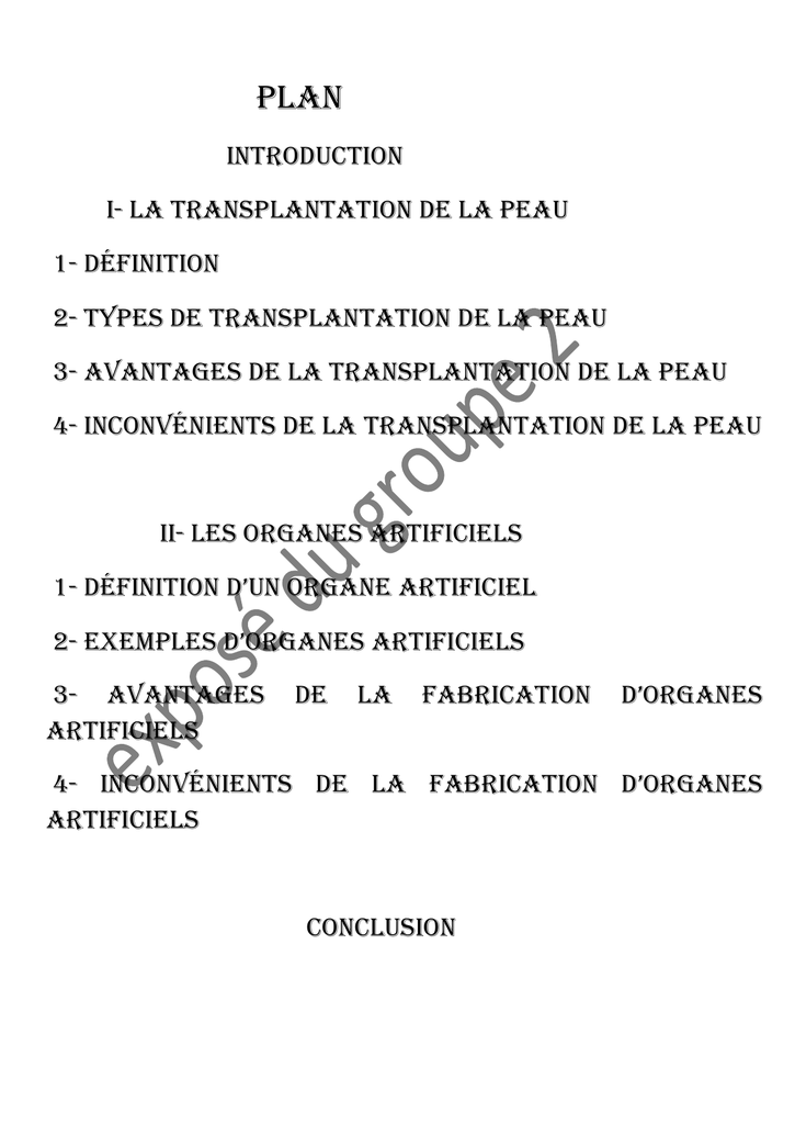 Introduction I La Transplantation De La Peau 1