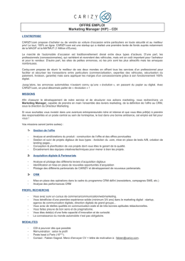 OFFRE EMPLOI Marketing Manager (H/F) - CDI