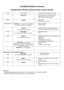CLASSIFICATION de l`Homme - CRDP de l`académie de Montpellier