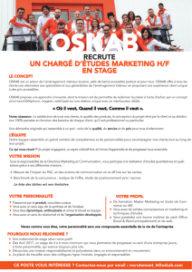 recrute un cHArGÉ D`ÉtuDeS mArketinG H/f en StAGe