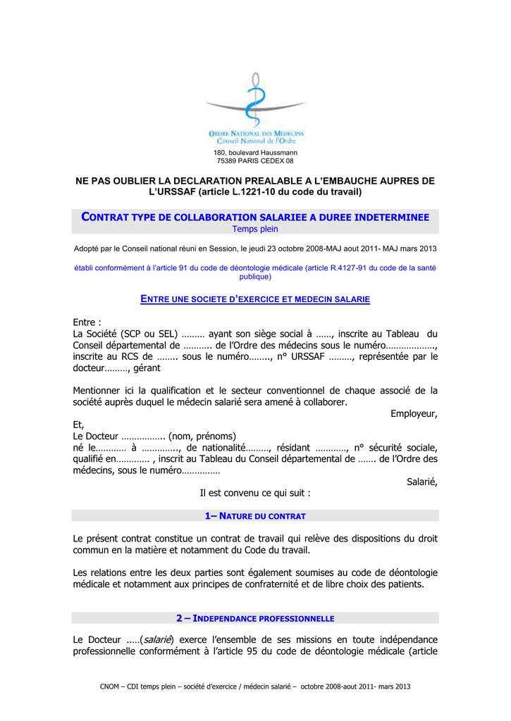 ba5fa0e53ba Contrat de médecin collaborateur salarié CDI SEL
