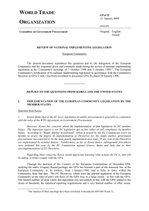 I. Implementation of the European Community Legislation by the