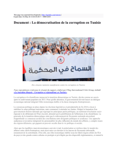 Document : La démocratisation de la corruption en Tunisie