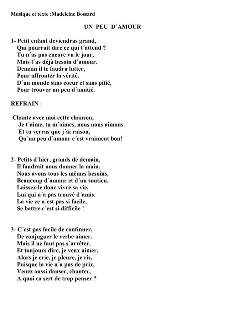 Musique Et Texte Madeleine Bossard