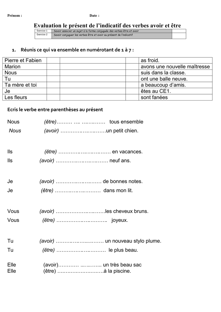 Prenom Date Evaluation Le Present De L Indicatif Des Verbes Avoir