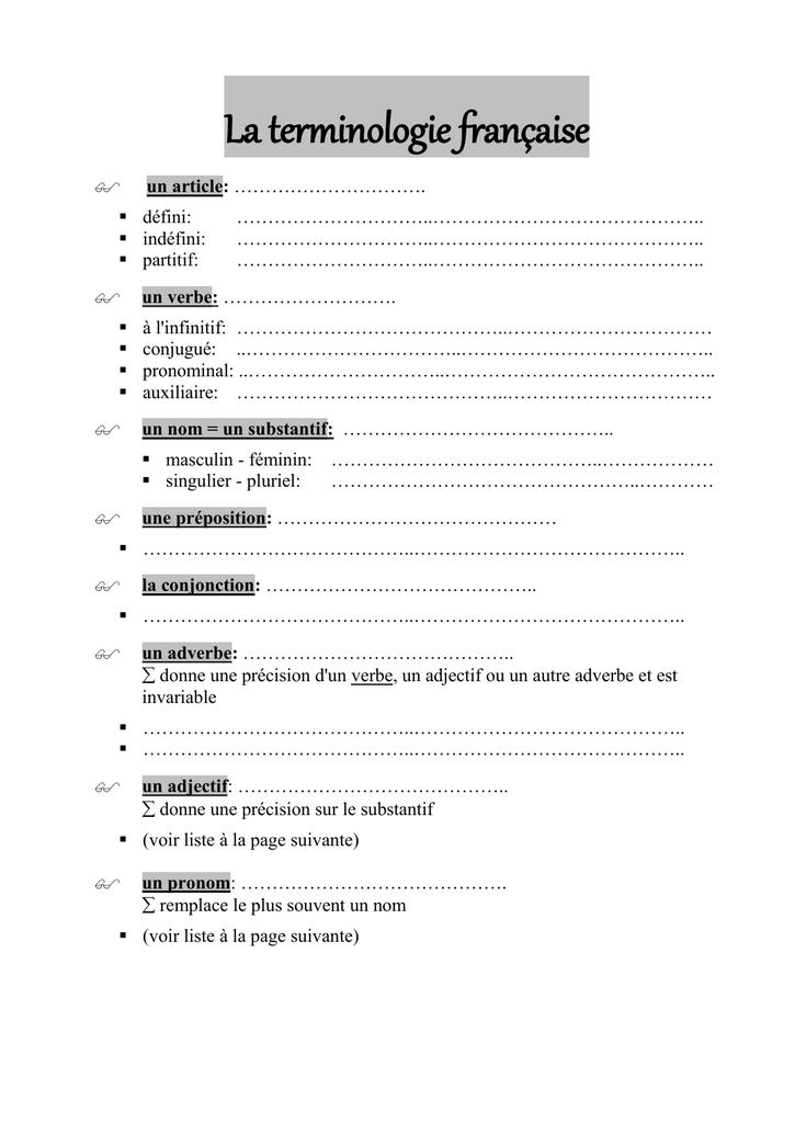 La Terminologie Francaise