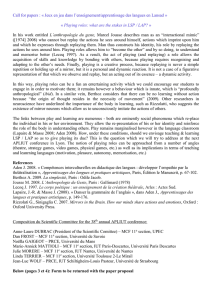 Call for papers : « Jeux en jeu dans l`enseignement/apprentissage