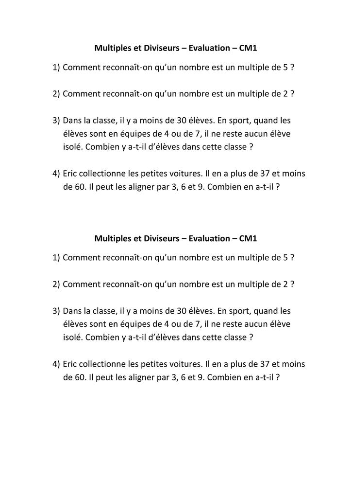 Num2 Multiples Et Diviseurs Evaluation Cm1 Et Cm2