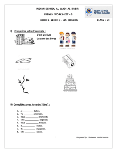 INDIAN SCHOOL AL WADI AL KABIR FRENCH WORKSHEET – 3