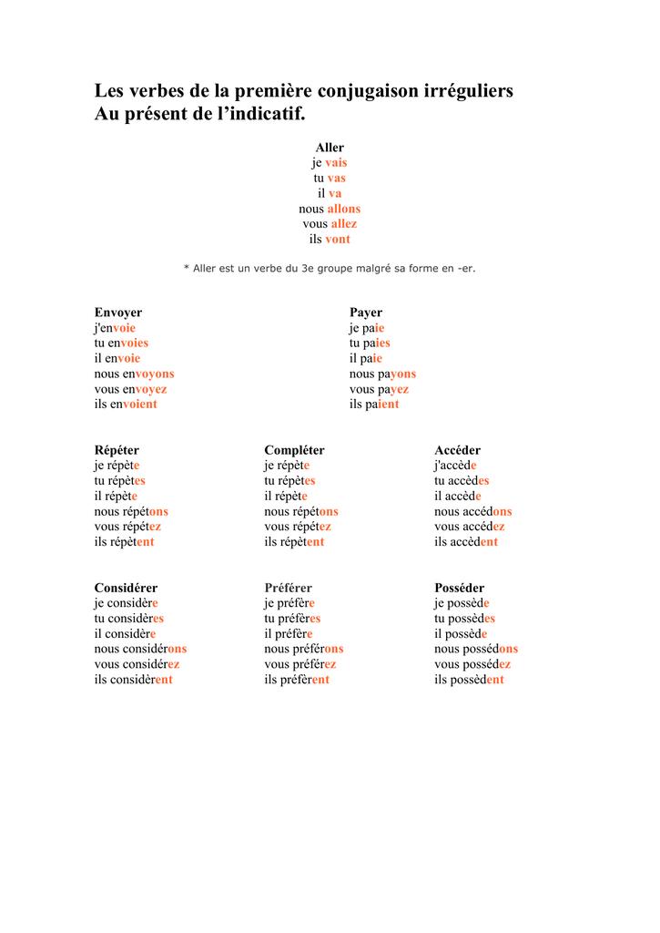 Les Verbes De La Premiere Conjugaison Irreguliers