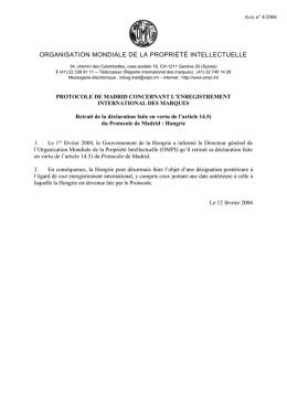 Retrait de la déclaration faite en vertu de l`article 14.5) du