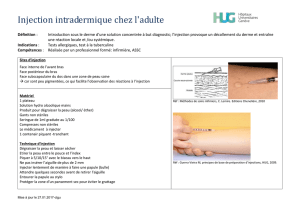 Injection intradermique chez l`adulte