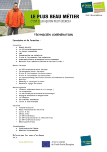 tECHNICIEN COGENERATION Description de la formation