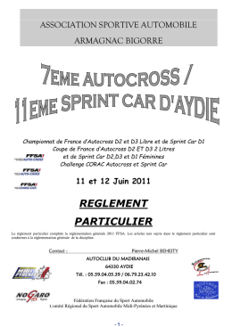 article 1. organisation - Le circuit d`Aydie