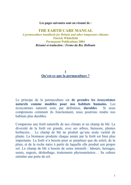 the earth care manual - L`Ecole de Permaculture du Bec Hellouin