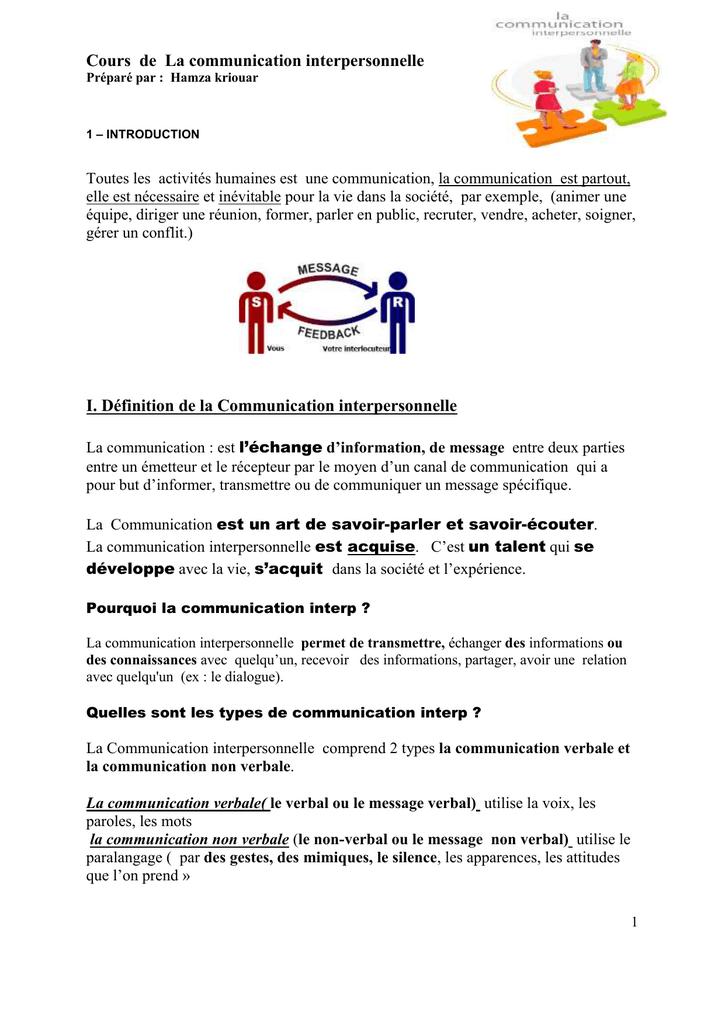 Definition De La Communication Interpersonnelle