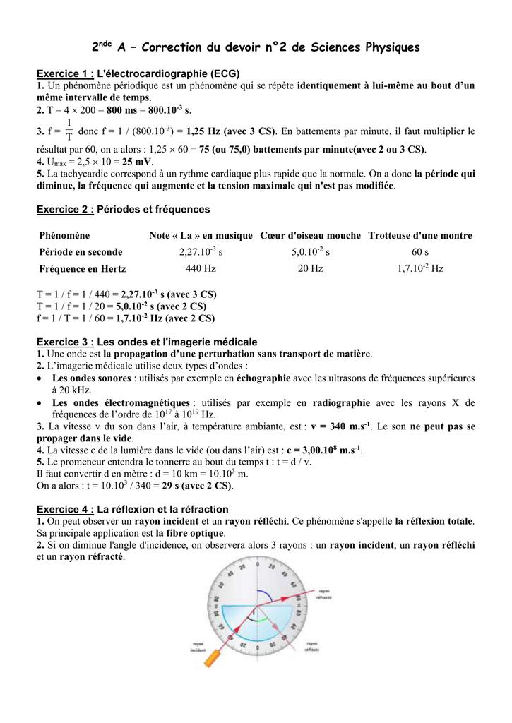 2nde A - Correction du devoir n°2 de Sciences Physiques