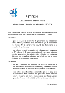 PETITION De : Association Ichtyose France A l`attention de