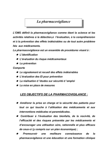 DEFINITION DE LA PHARMACOVIGILANCE :