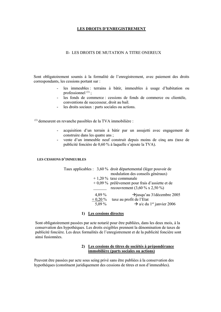 Les Droits D Enregistrement