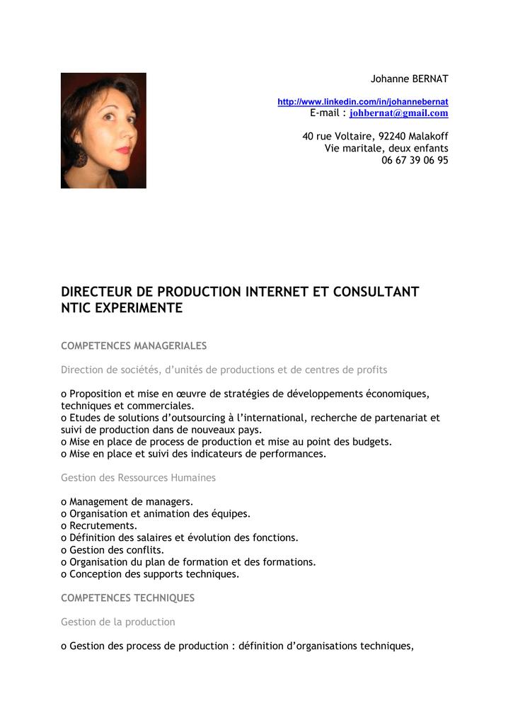 cv directeur de production groupe