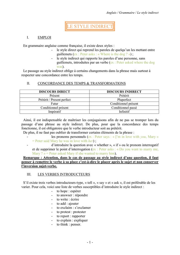 III  Les verbes introducteurs
