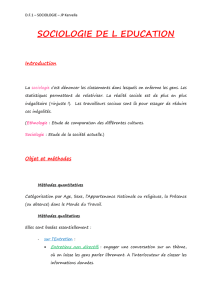 SOCIOLOGIE DE L EDUCATION Introduction