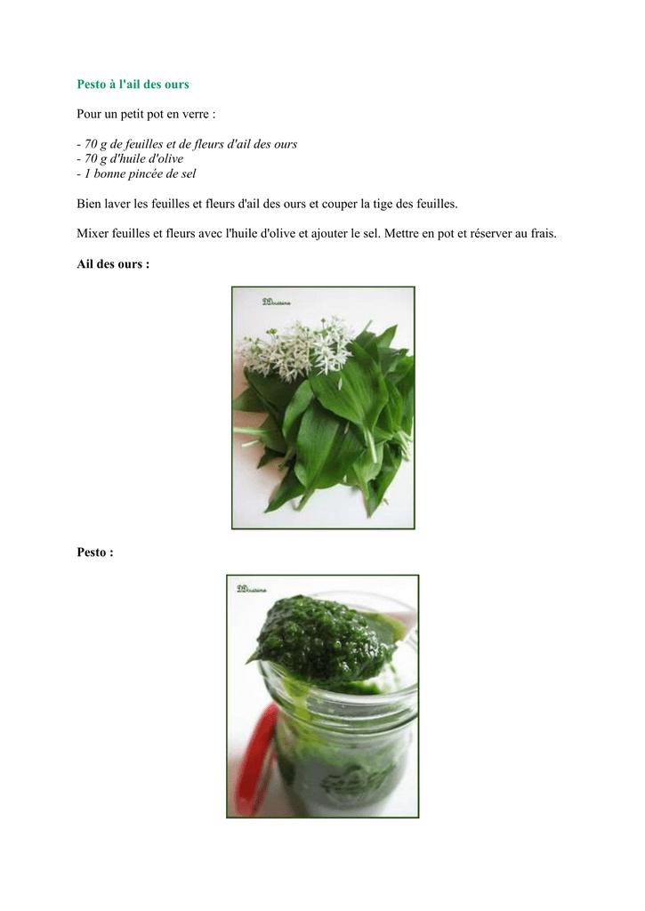 Pesto A L Ail Des Ours Pour Un Petit Pot En Verre
