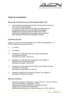 Texte de soumission - Gilgen Door Systems