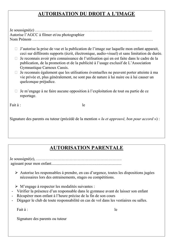 Autorisation Du Droit A L Image Association Gymnastique Carnoux