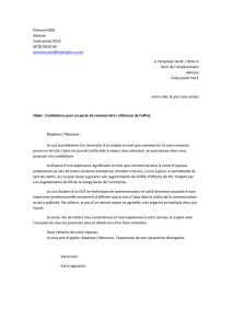 Lettre de motivation commercial au format Word