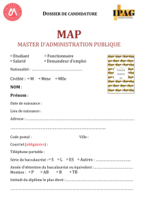 Dossier de candidature MAP 2017-2018