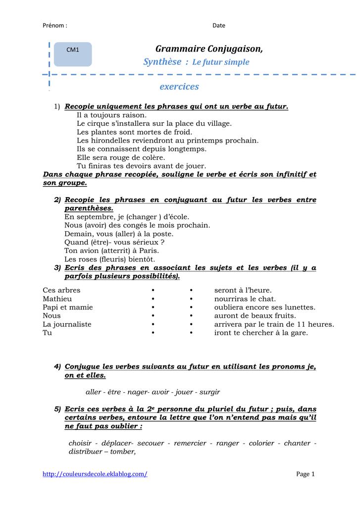 Grammaire Conjugaison Synthese Le Futur Simple