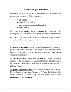 La Note critique de lecture