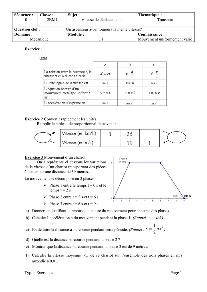 Sequence 10 Sciences Exercices 2nde Bac Pro Maths
