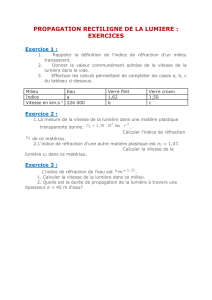 PROPAGATION RECTILIGNE DE LA LUMIERE : EXERCICES
