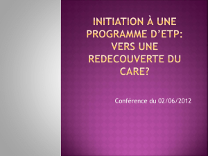 Initiation à une programme d`ETP: vers une redecouverte du CARE?