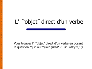 PPT L`objet direct