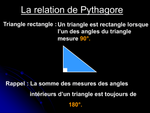 La relation de Pythagore Triangle rectangle