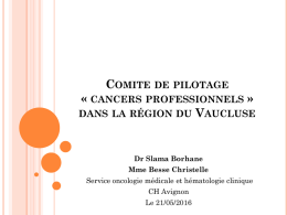 Les cancers professionnels - Phyto