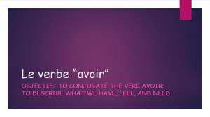 Le verbe *avoir - mainlandfrench