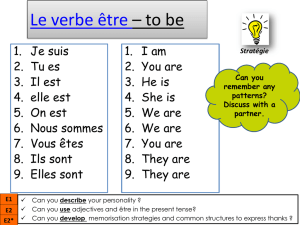 Le verbe être * to be