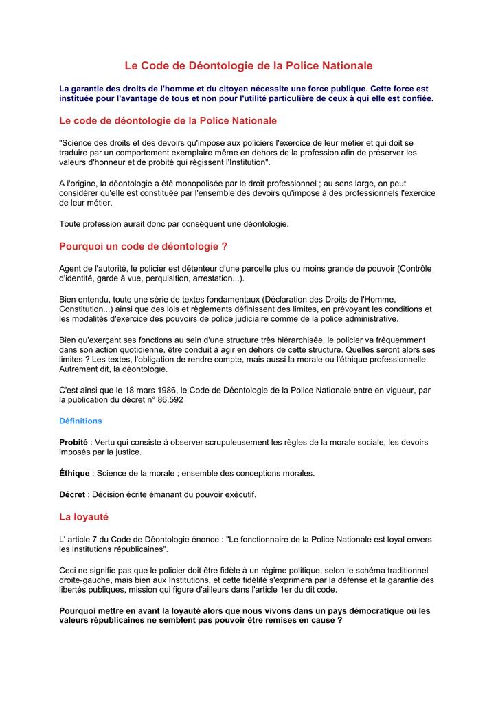 Le Code De Deontologie De La Police Nationale