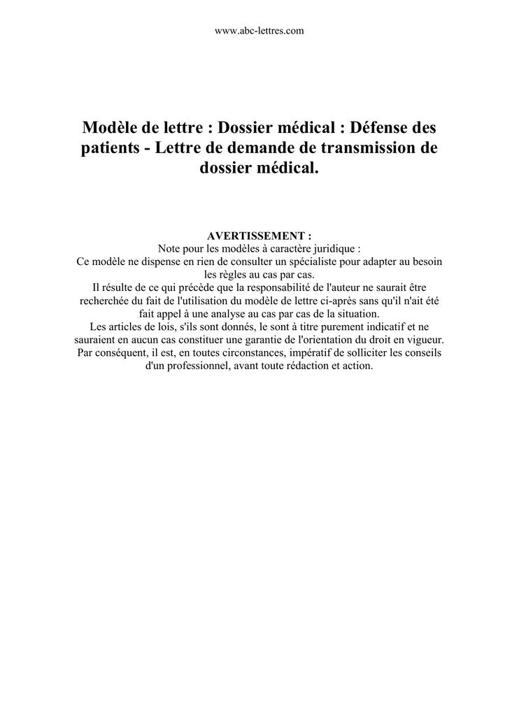 Modele De Lettre Dossier Medical Defense Des Patients