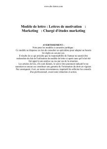 Modèle de lettre : Lettres de motivation : Marketing : Chargé