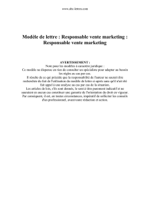 Modèle de lettre : Responsable vente marketing