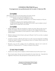 à faire - Standardized Patient Program