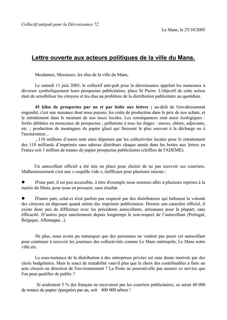 Lettre Ouverte Aux Acteurs Politiques De La Ville Du Mans